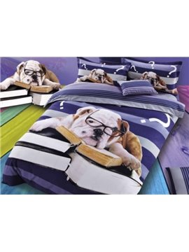 Spectacled Dog and Books Print 4-Piece Cotton Duvet Cover Sets