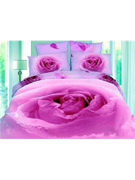 Purple Peony Flower Bud Print 4-Piece 3D Duvet Cover Sets
