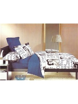 Loving Couples and Words Print 4-Piece 3D Cotton Duvet Cover Sets
