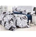 Loving Couples and Words Print 4-Piece 3D Cotton Duvet Cover Sets