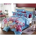 Red Flower  with Blue Background 4-Piece Duvet Cover Sets