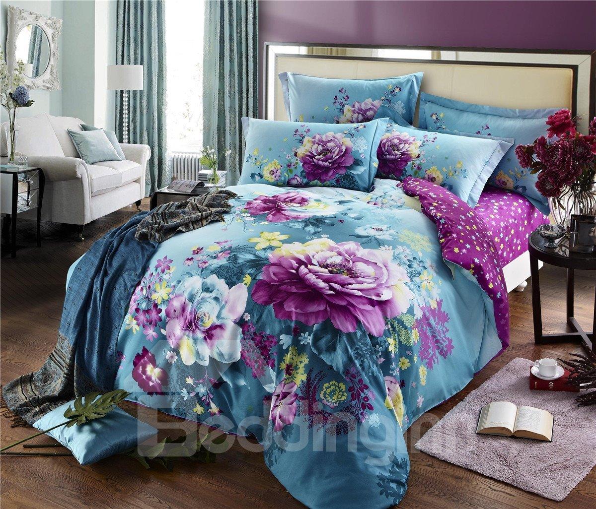 Purple Flower With Blue Background Cotton 4 Piece Duvet