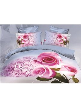 A bunch of Pink Roses Print 4-Piece Polyester 3D Duvet Cover Sets