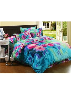 Pink and Blue Oil Painting 4-Piece Cotton Duvet Cover Sets