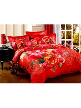 Happy Life Bright Red Flower Print 4-Piece Cotton Duvet Cover Sets
