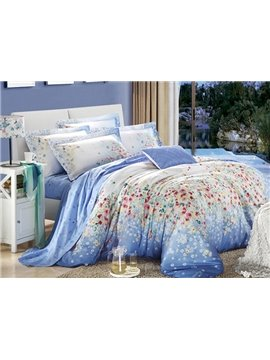 Pretty Little Flower Print 4-Piece Cotton Duvet Cover Sets