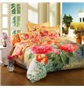 Charming Red Flower Print 4-Piece Cotton Duvet Cover Sets