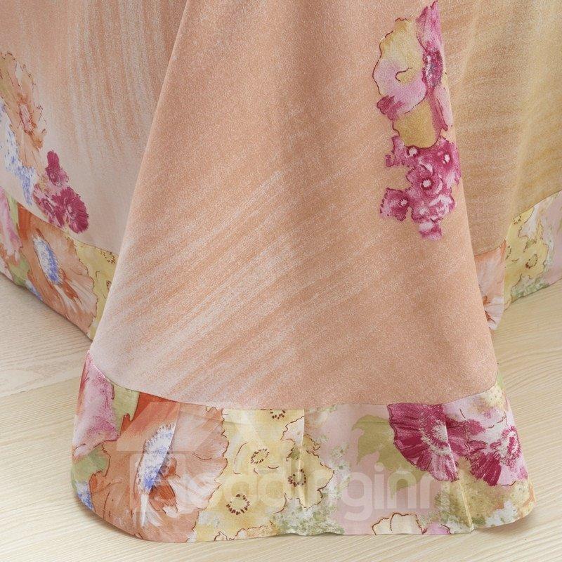Comfotrable Flower Oil Painting Print 4-Piece Cotton Duvet Cover Sets