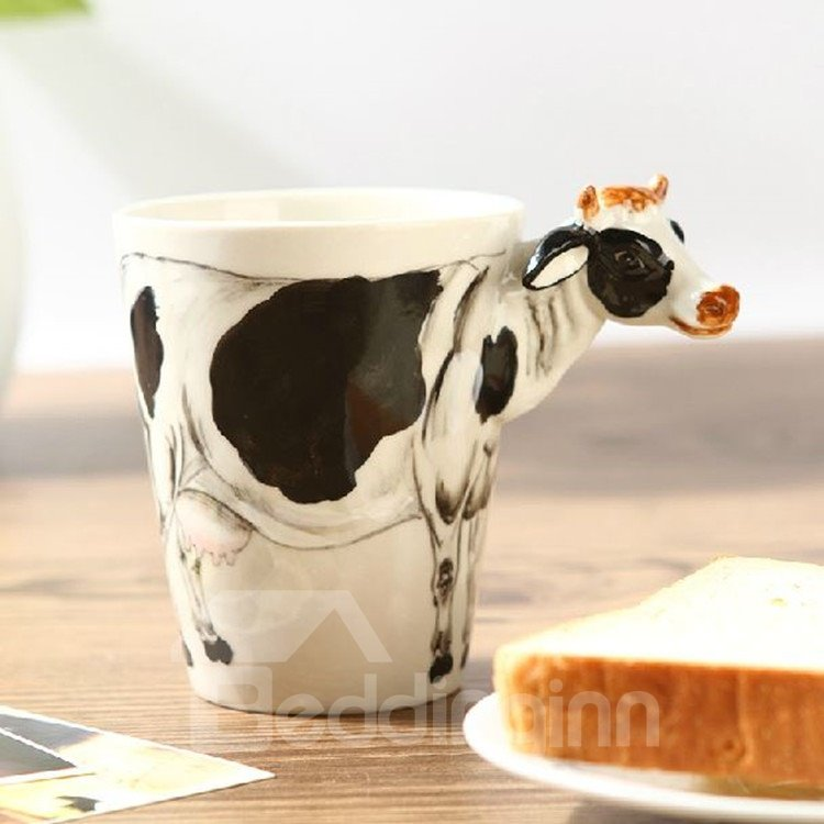 Alluring Creative Cow Design Ceramic Hand Painting Cup
