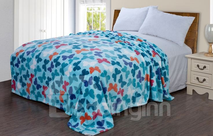 High Quality Beautiful Butterfly Pattern Flannel Blanket