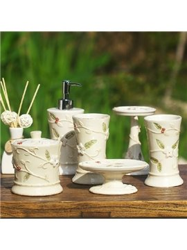 Retro Flower Design Exquisite 6-piece Bathroom Accessory