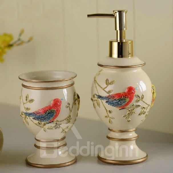 High Grade Splendid Bird Print Resin Bathroom Accessory