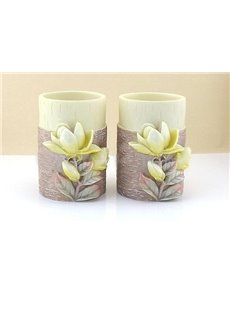 Magnolia Pattern Resin 5-Pieces Bathroom Accessories