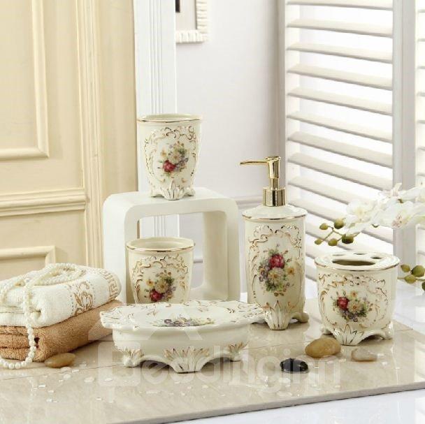 Fancy Romantic Colorful Flowers Print Decorative Ivory Porcelain ...
