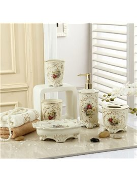 Fancy Romantic Colorful Flowers Print Decorative Ivory Porcelain Bathroom Accessory