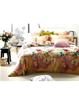 Splendid Colorful Flower Print 4-Piece Cotton Duvet Cover Sets