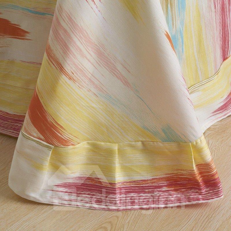 Minimalist Multi-Color Oil Painting Print 4-Piece Cotton Duvet Cover Sets