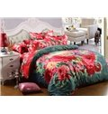 Full Size Bright Red Flowers Print 4-Piece Cotton Bedding Sets/Duvet Cover