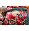 Bright Red and Green Flower Print 4-Piece Cotton Duvet Cover Sets