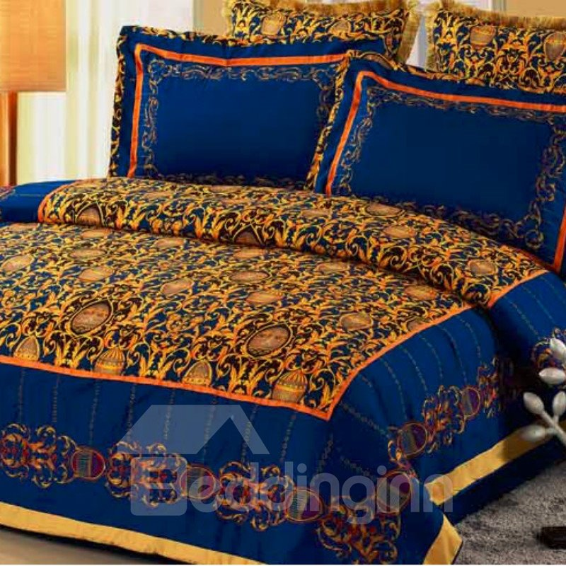 New Arrival Luxury Floral Patterns 6 Pieces Duvet Cover Sets