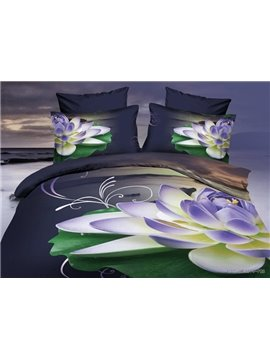 Splendid Purple Lotus Print 4-Piece Polyester 3D Duvet Cover Sets