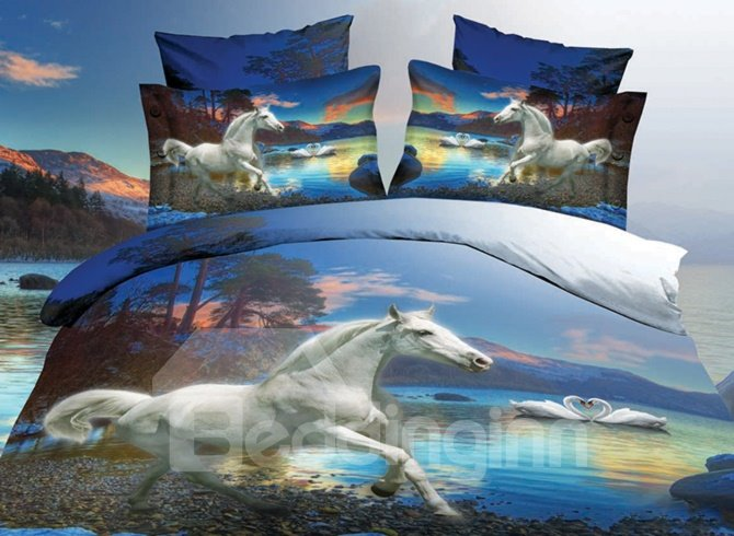 White Horse 3D Duvet Set