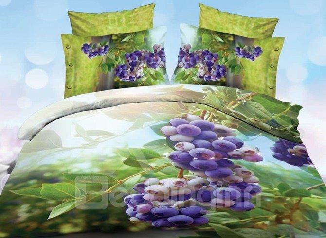 Charming Purple Grape Print 4-Piece Polyester 3D Duvet Cover Sets