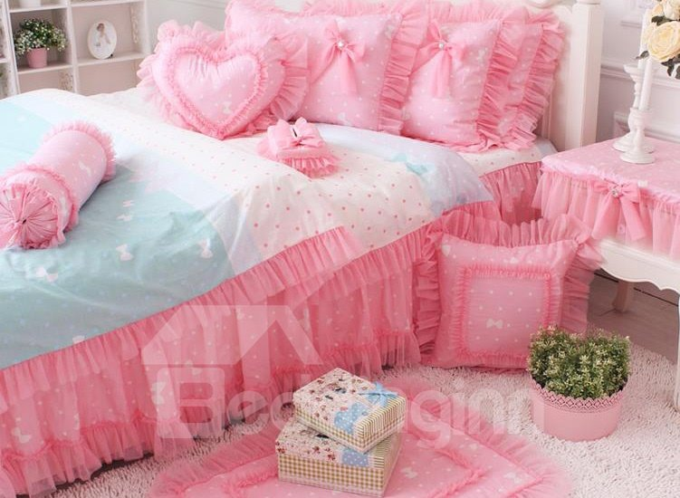 Cinderella Wedding Pink Lace with Bow 4 Piece Bedding Sets