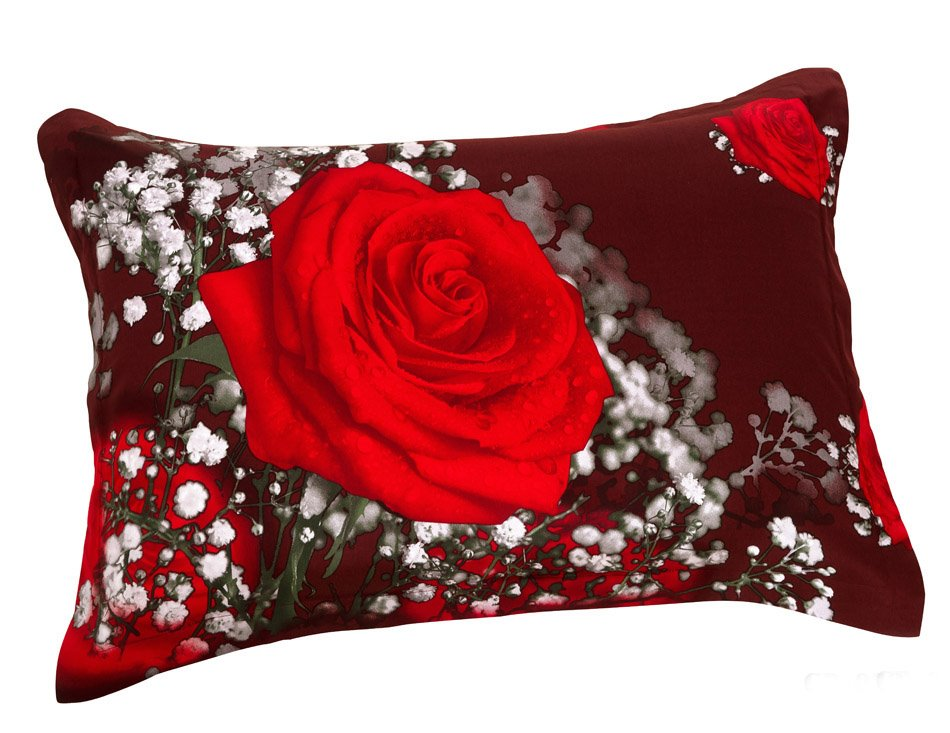 3D Romantic Shiny Red Roses Pattern 2-Piece Pillowcases