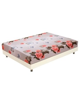 Quality Amazing Roses and Lifelike Leopard Print 3D Fitted Sheet