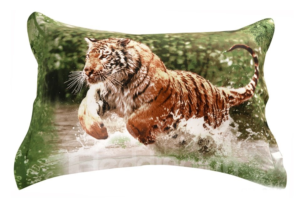 Quality Lifelike Tiger In Water Print 3d Two Piece