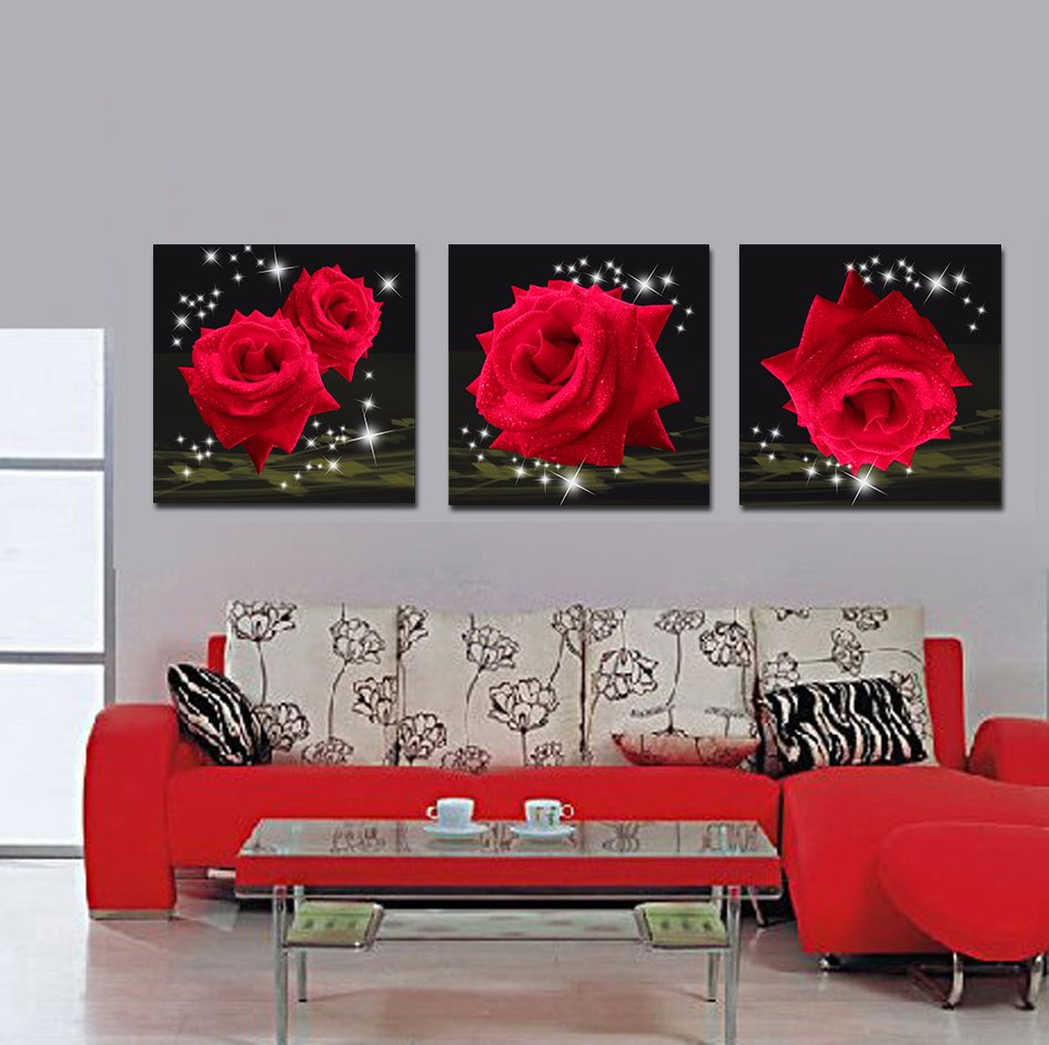 Splendid and Delicay Shiny Red Roses 16*16 in 3 Panel Framed Art Prints