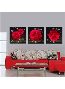 Splendid and Delicay Shiny Red Roses 16*16 in 3 Panel Film Art Wall Prints