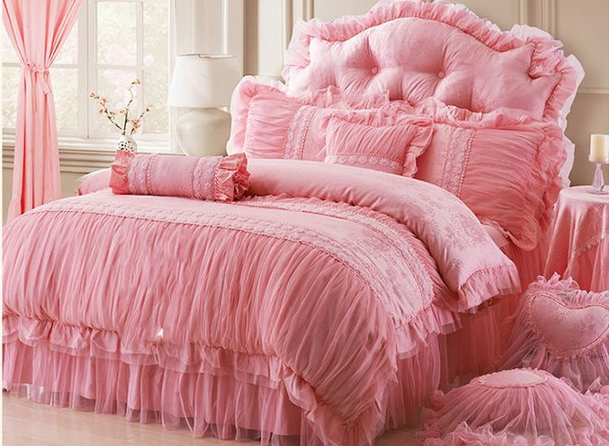 Cotton and Lace Fabric Pink Colour Princess 4-Piece Duvet Covers/Bedding Sets