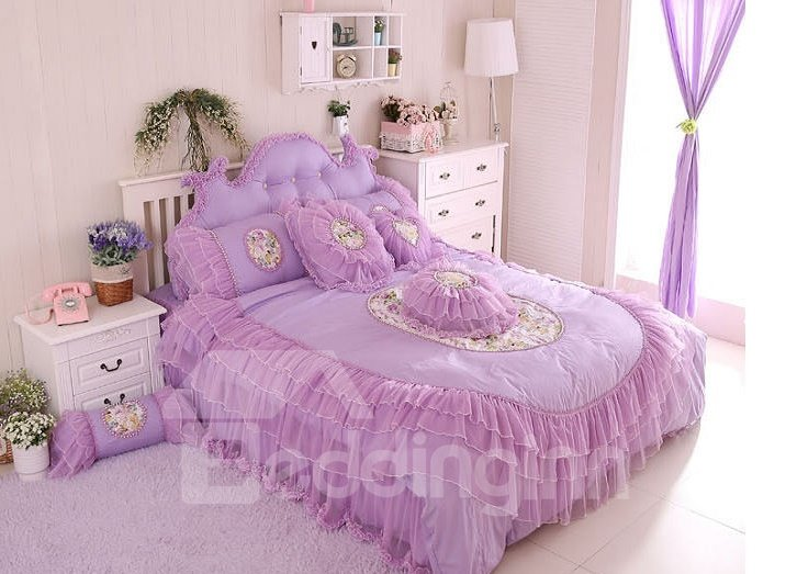 Cinderella Style Lovely Flowers Plus Lace 4-Piece Cotton Duvet Cover Sets