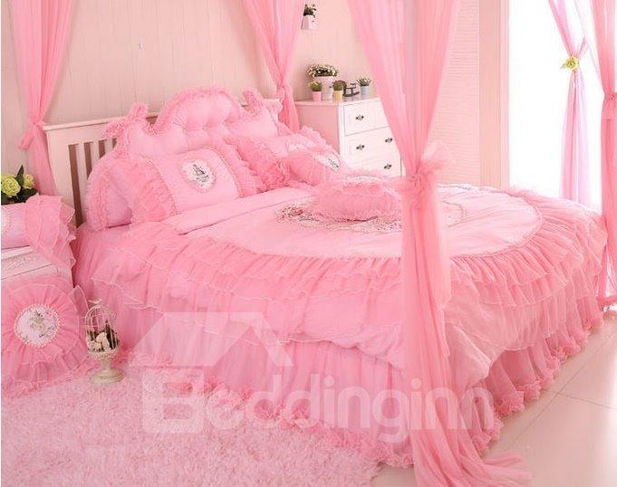 Cinderella Style Lovely Flowers Plus Lace 4-Piece Cotton Duvet Cover/Bedding Sets
