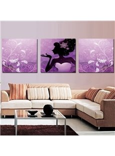 16×16in×4 Panels Pretty Girl Hanging Canvas Waterproof and Eco-friendly Purple Framed Prints