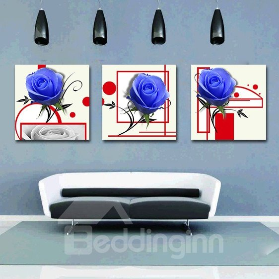 Shiny Blue Roses Style Film Art Wall Prints