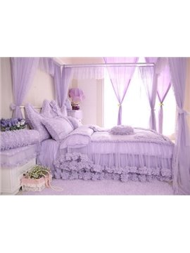 Cinderella Style Lovely Dot And Heart Pattern 4-Piece Cotton Duvet Cover Sets