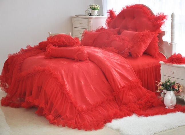 Romantic Red Lace 4-Piece Cotton Duvet Cover Sets