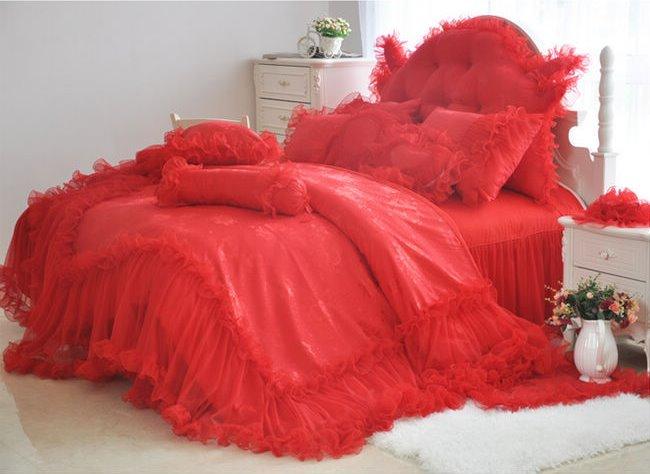 High Quality Romantic Red Lace 4-Piece Cotton Duvet Cover Sets