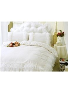 High Quality Pure Color Concise Lace Pattern 4-Piece Cotton Duvet Cover Sets