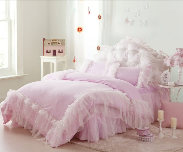 Pure Color Concise Lace Pattern 4-Piece Cotton Duvet Cover/Bedding Sets