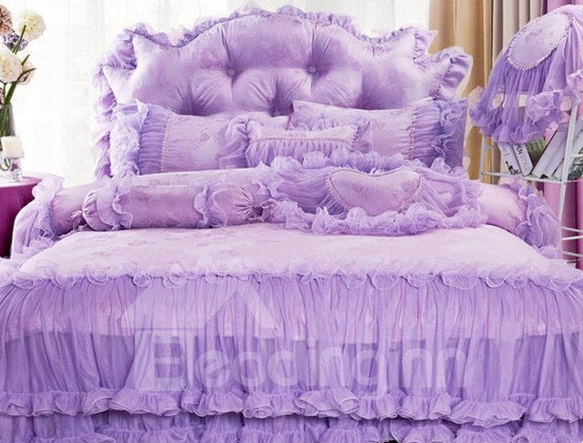 Lace Trimming Cotton Full Size 4-Piece Pure color Duvet Covers/Bedding Sets