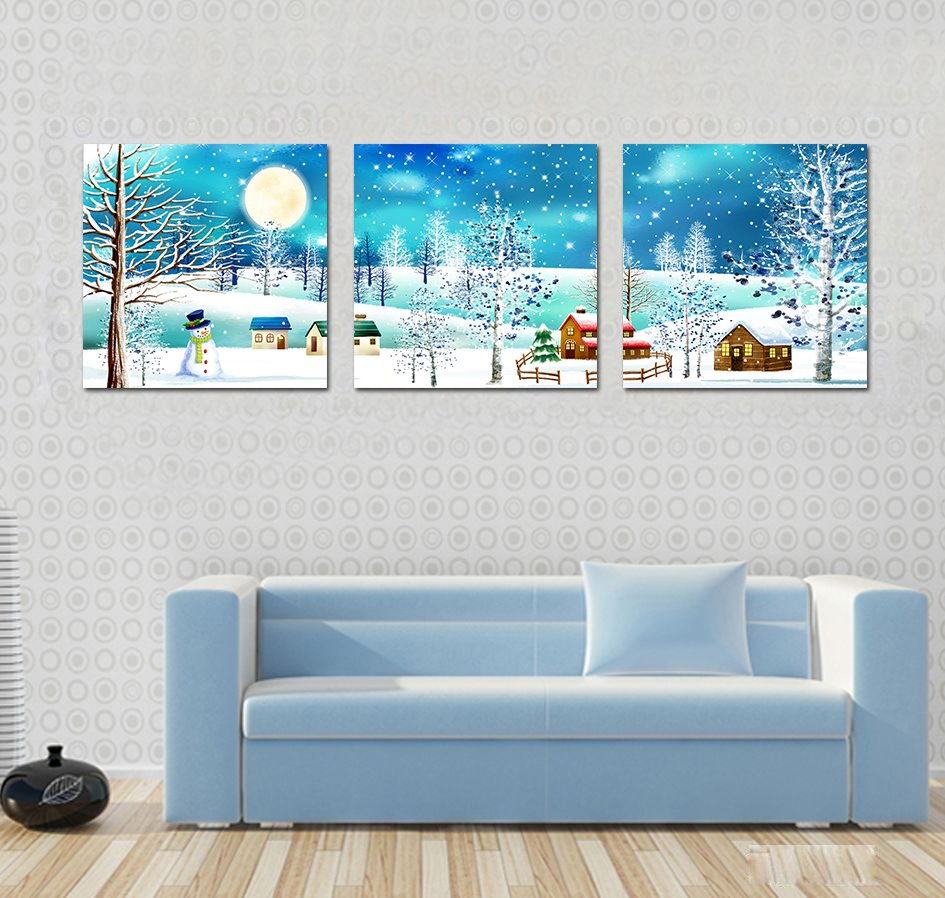 Amazing Village View and Fancy Snow Film Art Wall Prints