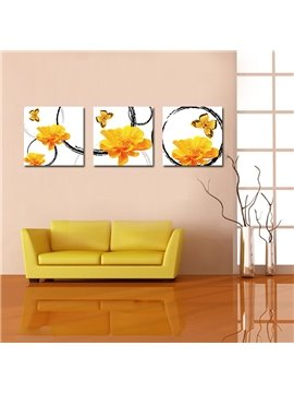 Adorable Butterflies on Delicate Yellow Flowers Film Art Wall Prints