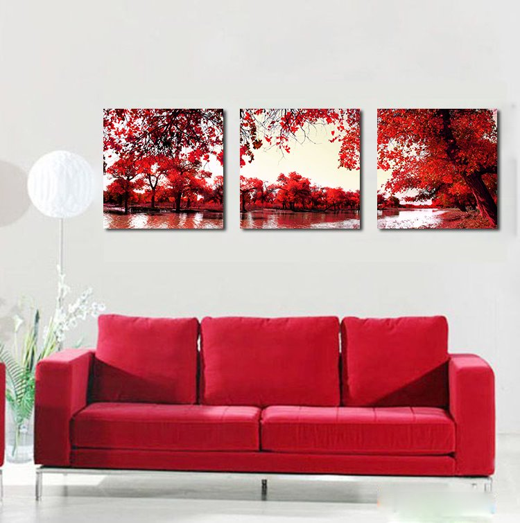 16×16in×3 Panels Red Leaves and Lake Hanging Canvas Waterproof and Eco-friendly Framed Prints