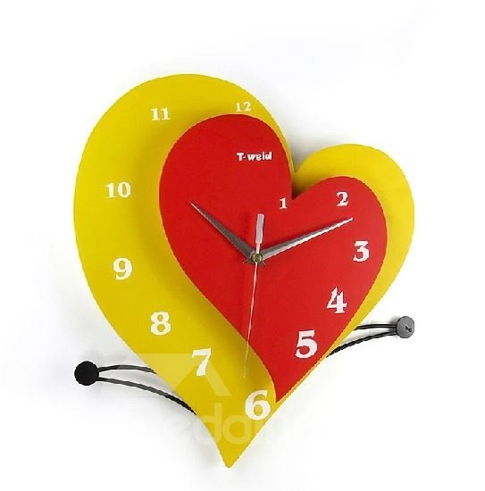 Elegant and Simple Stylish Creative Heart-shaped Wall Clock