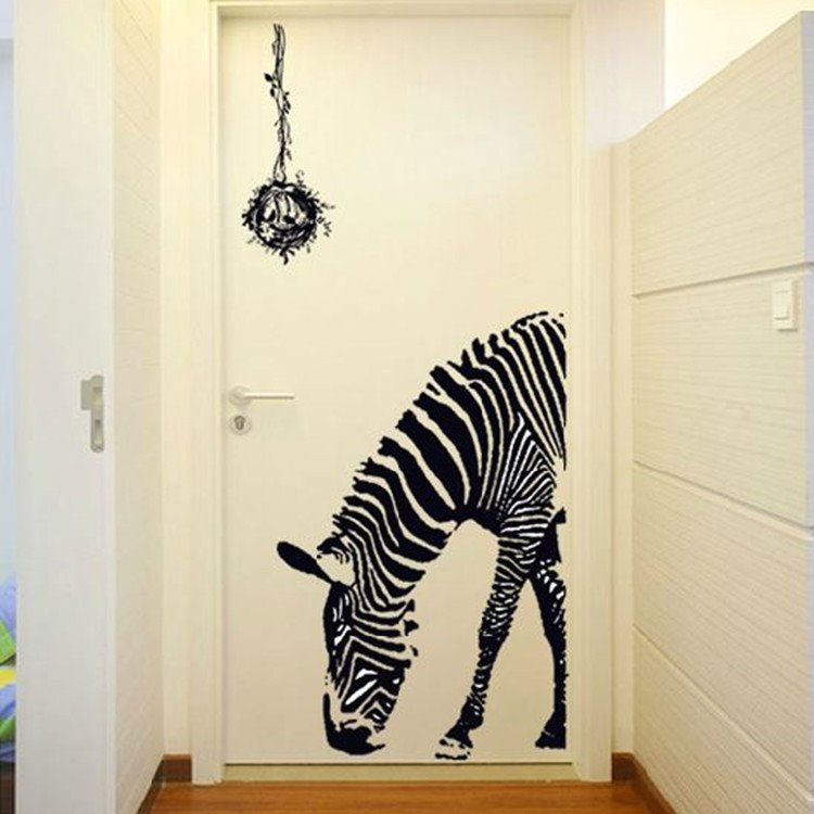 Amusing Creative Zebra and Bird Nest Design Wall Sticker