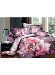 Graceful Magnolia Flower Print 4-Piece 3D Duvet Cover Sets